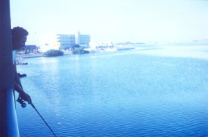 Fishing from the balcony of the old Holiday Inn, Key West, FL, Dec 1972