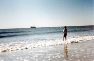Fishing in the Surf at Daytona Beach, October 1980 (That's a Shrimp boat on the Horizon)
