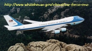 Air Force One flying over Mt. Rushmore